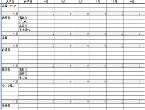 年間家計計算シート